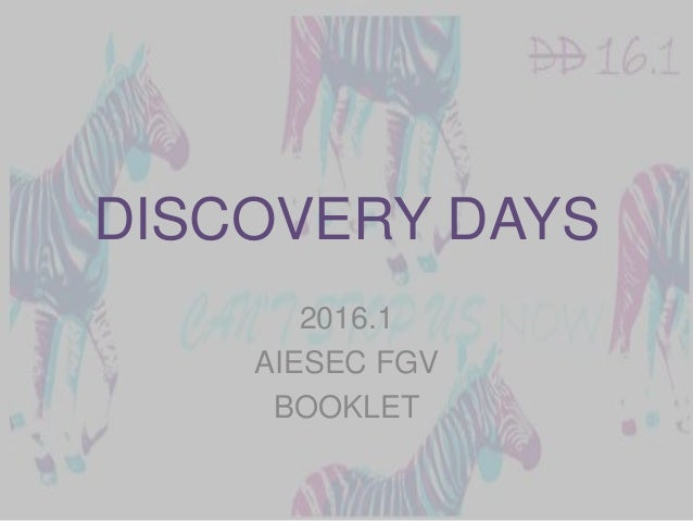 DISCOVERY DAYS 2016.1 AIESEC FGV BOOKLET