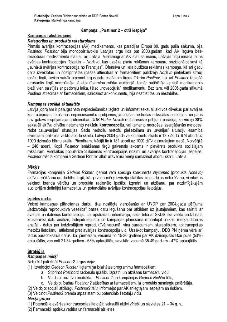 Pieteicējs: Gedeon Richter sadarbībā ar DDB Porter Novelli                              Lapa 1 no 4    Kategorija: Marketi...