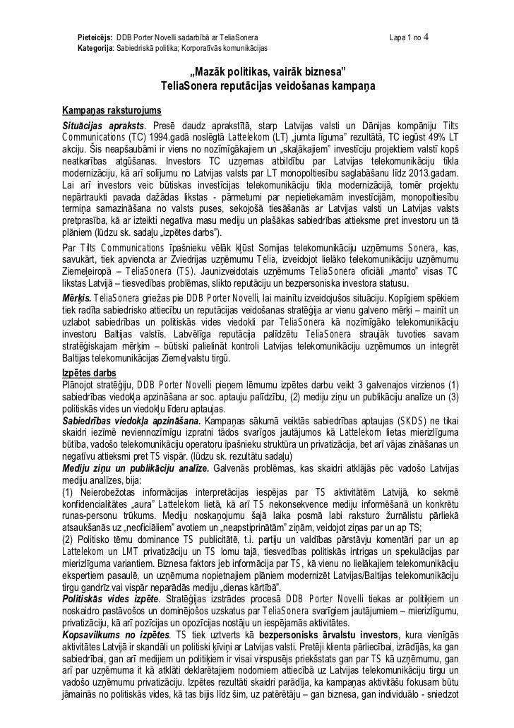 Pieteicējs: DDB Porter Novelli sadarbībā ar TeliaSonera                                      Lapa 1 no 4    Kategorija: Sa...