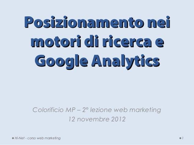 Colorificio MP- seconda lezione web marketing