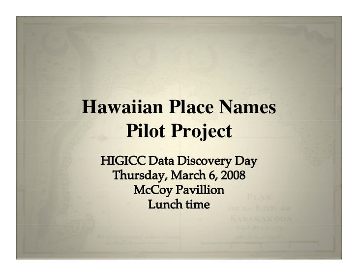 Hawaii Indigenous Names Project