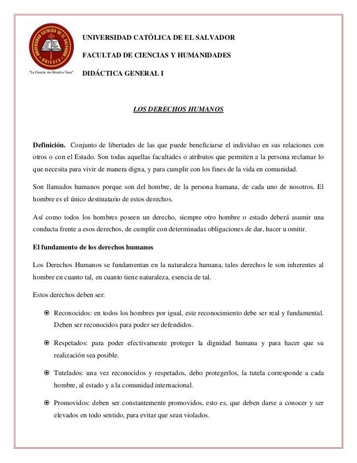 UNIVERSIDAD CATÓLICA DE EL SALVADOR                  FACULTAD DE CIENCIAS Y HUMANIDADES                  DIDÁCTICA GENERAL...