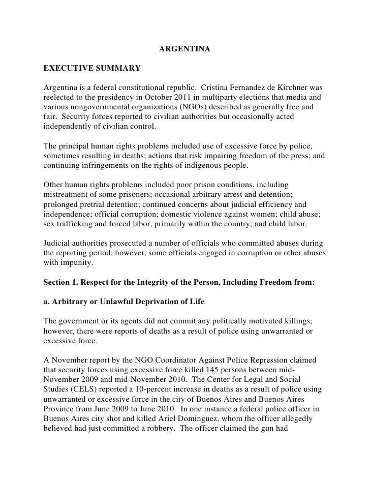 DDHH: Informe completo Argentina 2011