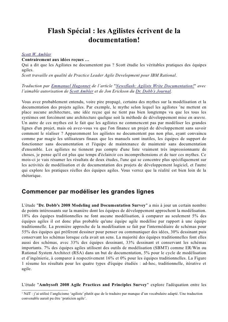 DDJ - Architecture & Design - Newsflash - Agilistes Write Documentation