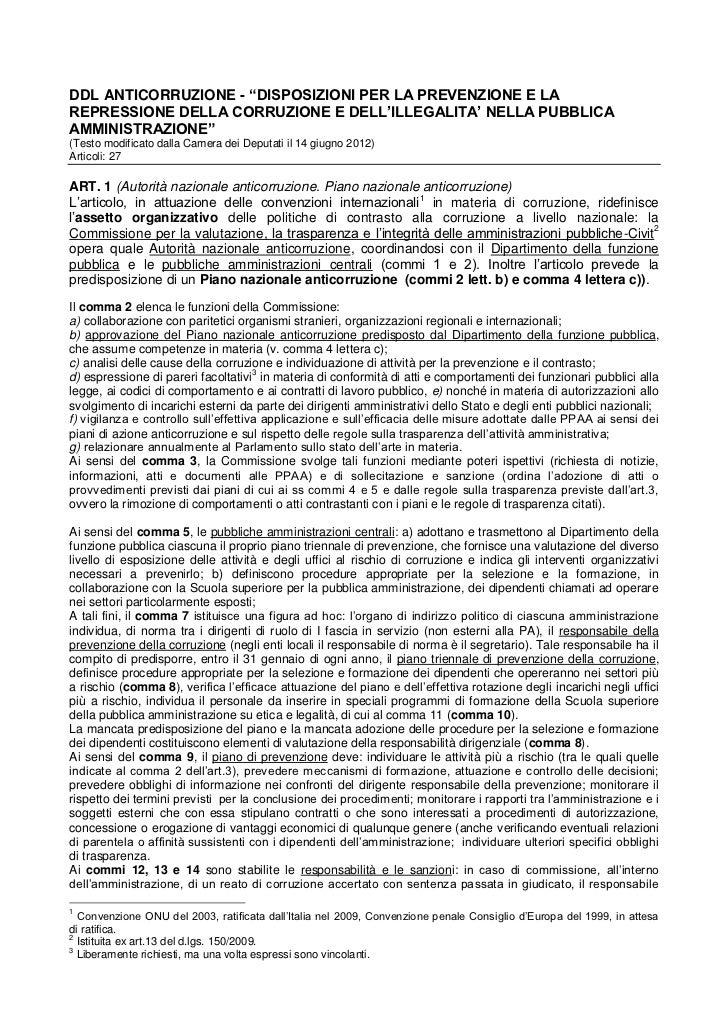 """DDL ANTICORRUZIONE - """"DISPOSIZIONI PER LA PREVENZIONE E LAREPRESSIONE DELLA CORRUZIONE E DELL'ILLEGALITA' NELLA PUBBLICAAM..."""