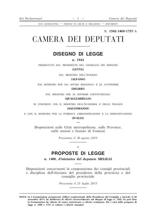 Progetto di legge: modifica ordinamento Province, Città metropolitane e Unioni di Comuni