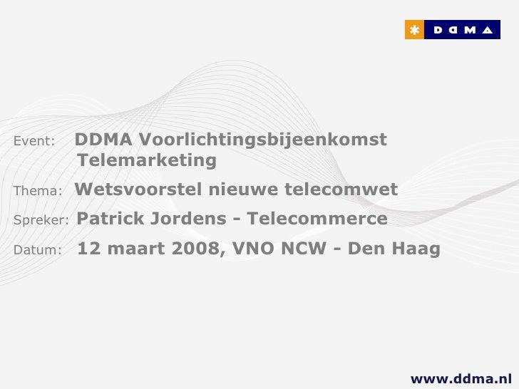 DDMA / Patrick Jordens: Telemarketing