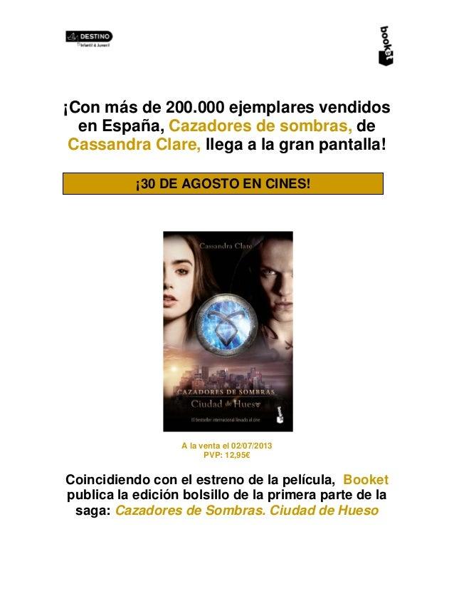 ¡Con más de 200.000 ejemplares vendidos en España, Cazadores de sombras, de Cassandra Clare, llega a la gran pantalla! A l...