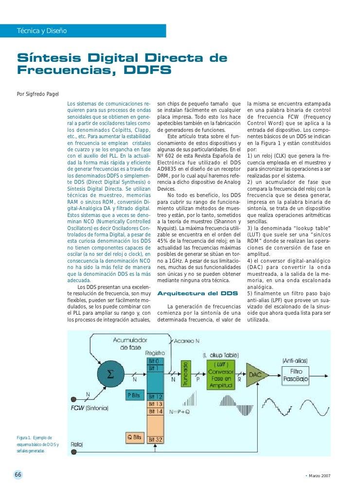 Técnica y Diseño    Síntesis Digital Directa de Frecuencias, DDFS Por Sigfredo Pagel                           Los sistema...