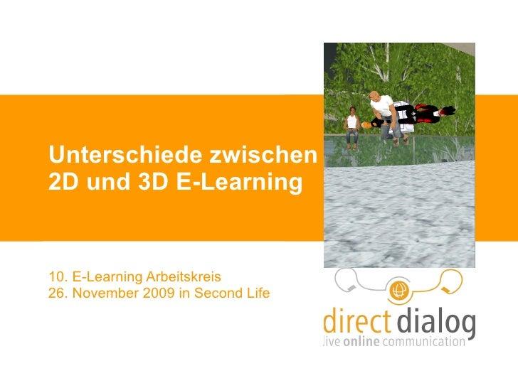 Unterschiede zwischen 2D und 3D E-Learning 10. E-Learning Arbeitskreis 26. November 2009 in Second Life