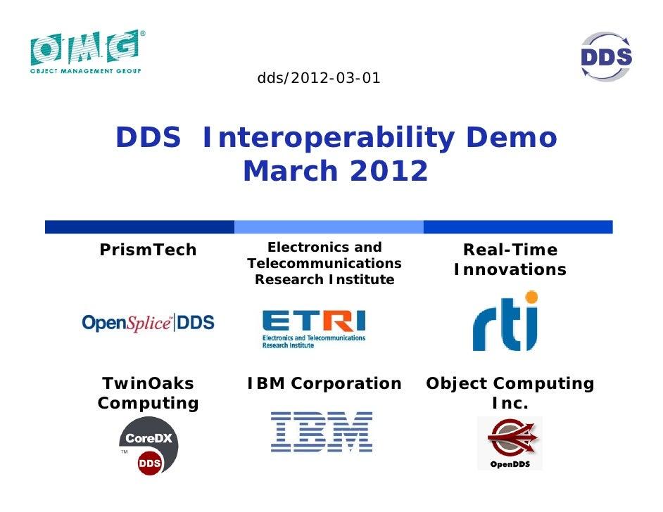 OMG DDS Interoperability Demonstration 2012