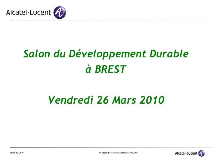 Salon du Développement Durable à BREST Vendredi 26 Mars 2010