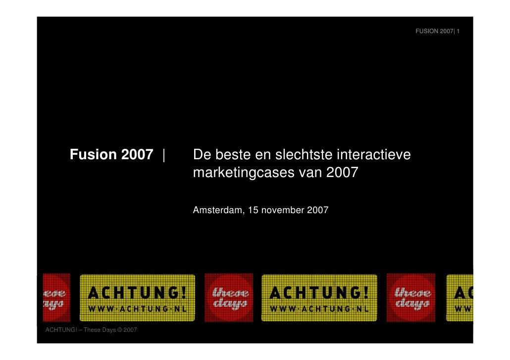 De beste en slechtste interactieve marketingcases van 2007