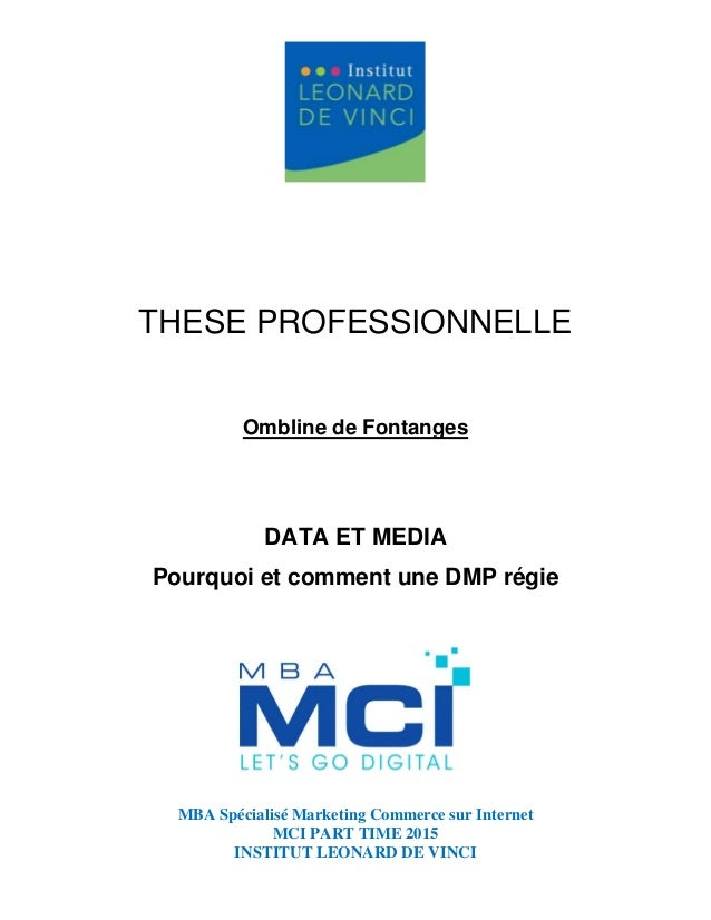 MBA Spécialisé Marketing Commerce sur Internet MCI PART TIME 2015 INSTITUT LEONARD DE VINCI THESE PROFESSIONNELLE Ombline ...