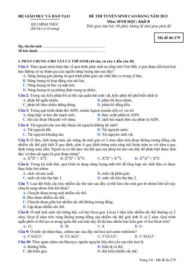 Trang 1/6 - Mã đề thi 279 BỘ GIÁO DỤC VÀ ĐÀO TẠO ĐỀ CHÍNH THỨC (Đề thi có 6 trang) ĐỀ THI TUYỂN SINH CAO ĐẲNG NĂM 2013 Môn...