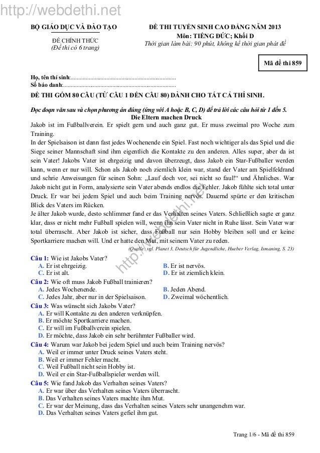 http://w ebdethi.net http://webdethi.net Trang 1/6 - Mã đề thi 859 BỘ GIÁO DỤC VÀ ĐÀO TẠO ĐỀ CHÍNH THỨC (Đề thi có 6 trang...
