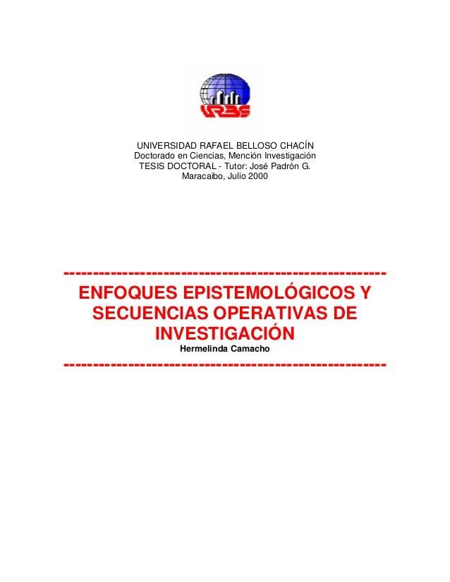 UNIVERSIDAD RAFAEL BELLOSO CHACÍN            Doctorado en Ciencias, Mención Investigación             TESIS DOCTORAL - Tut...