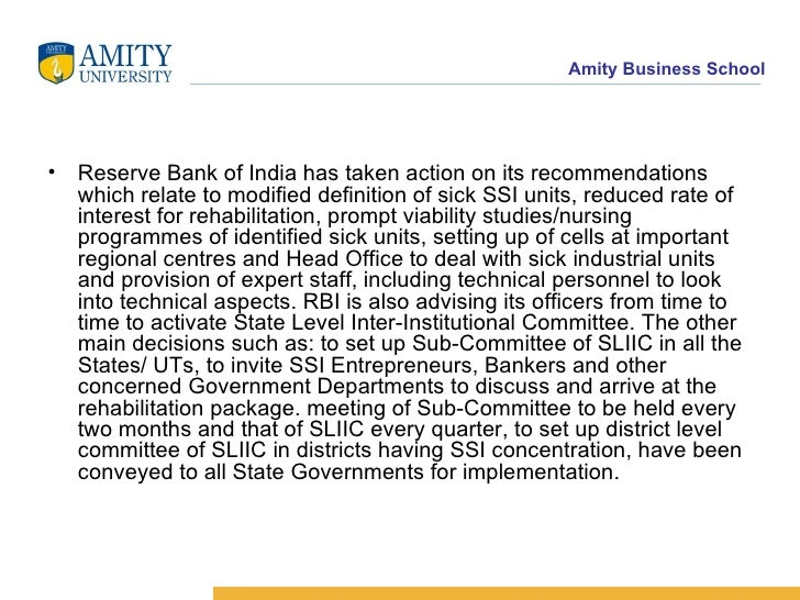 the measures taken by indian government to tackle industrial sickness in ssi and non ssi sector Banking and financial committees in india institutional credit to ssi sector: p selvam committee: non performing assets industrial sickness and corporate.