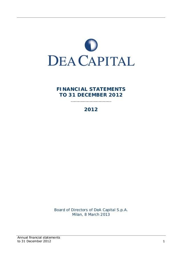 DeA Capital bilancio 2012 eng