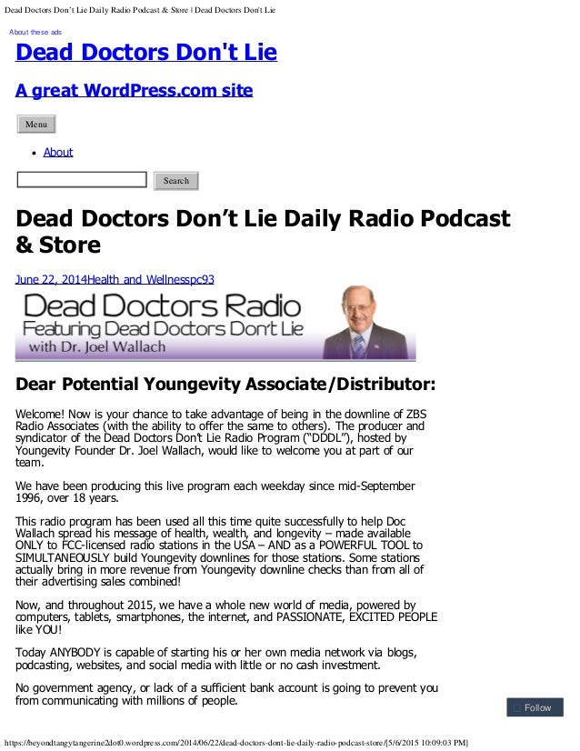 Dead Doctors Don't Lie Daily Radio Podcast & Store | Dead Doctors Don't Lie https://beyondtangytangerine2dot0.wordpress.co...