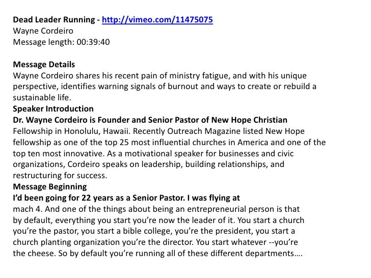 July 11, 2010 Dead Leader Running