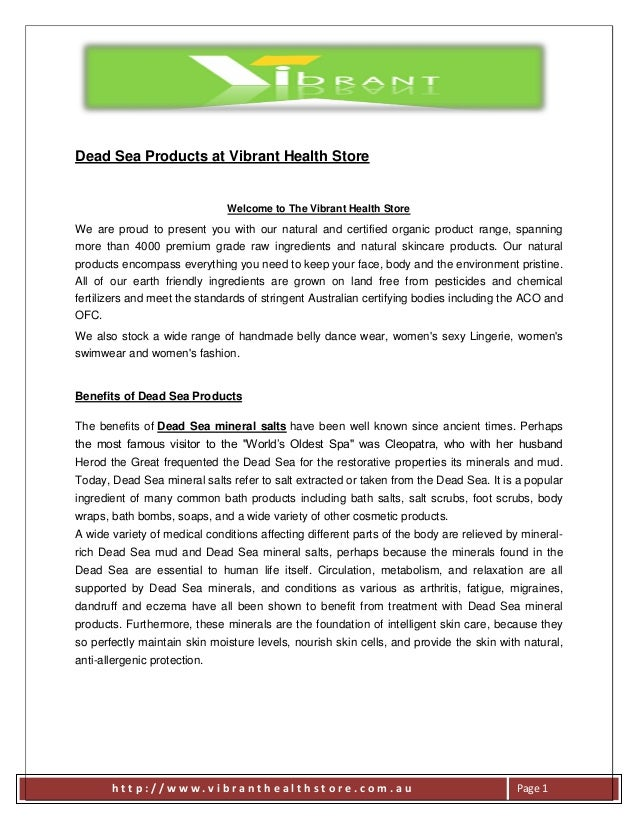 Dead Sea Products at Vibrant Health Store  Welcome to The Vibrant Health Store  We are proud to present you with our natur...