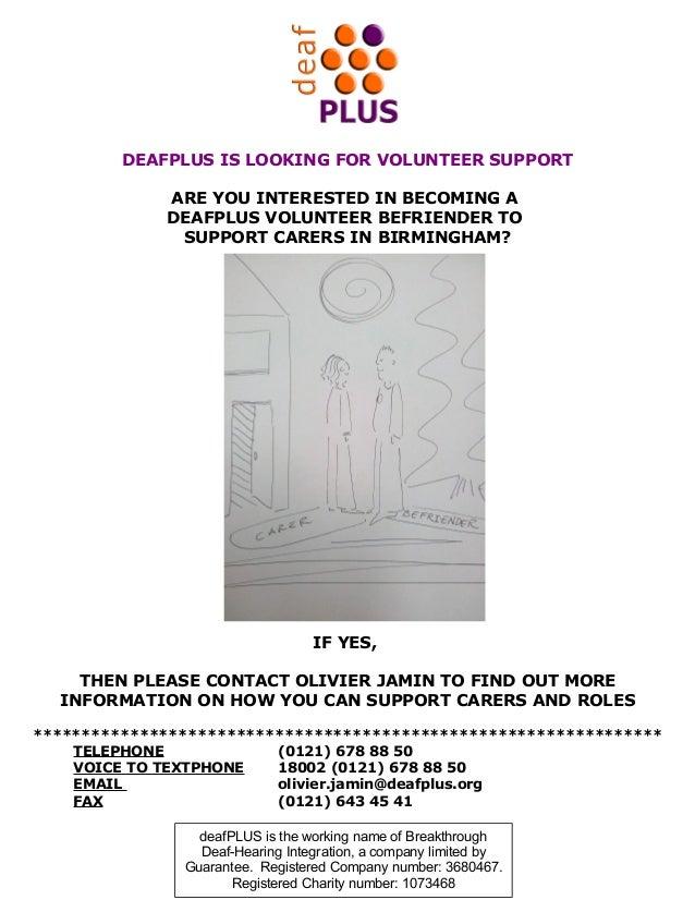 Deaf plus befriender poster