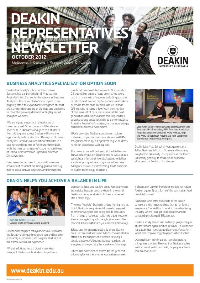 DEAKIN      REPRESENTATIVES'      NEWSLETTER        OCTOBER 2012        Melbourne I Geelong I Warrnambool I Off campusBUSI...