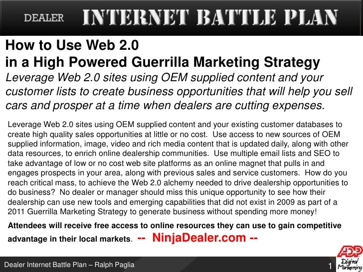 How to Use Web 2.0 in a High Powered Guerrilla Marketing StrategyLeverage Web 2.0 sites using OEM supplied content and you...