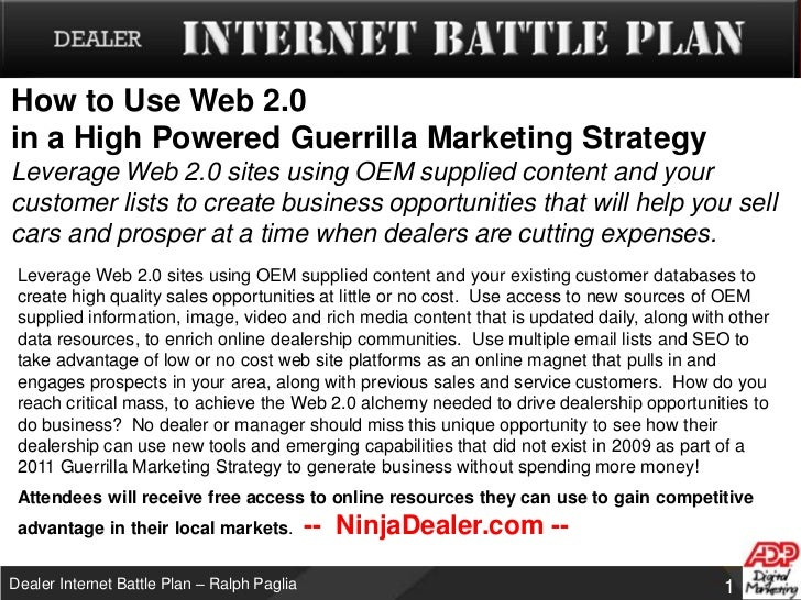 Dealer internet battle plan   web 2.0 - guerrilla marketing - v3