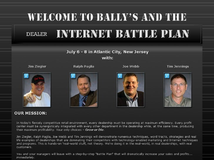 Car Dealer Internet Battle Plan Strategy - Content, Impressions, Traffic, Interaction, Process and Sales