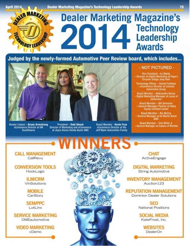 Dealer Marketing Magazine SEO Technology Leadership Award Winner April 2014 National Positions – Automotive, Tony Ly