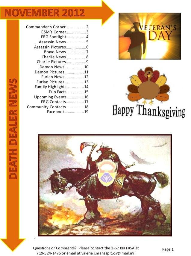 Death Dealer November 2012 Newsletter
