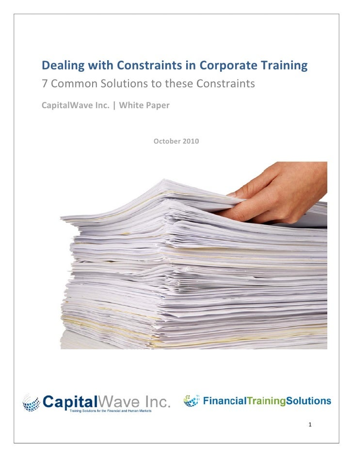 Dealing with constraints in corporate training white paper oct 2010