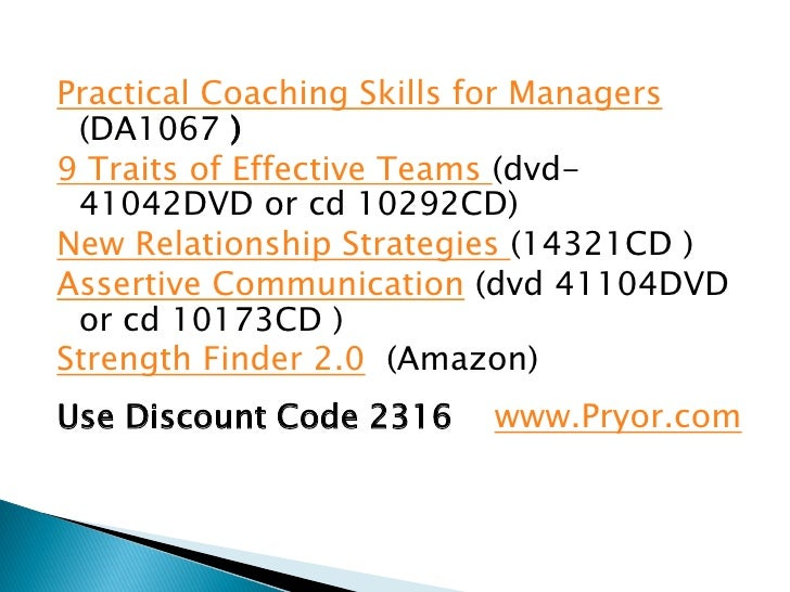 Practical Coaching Skills for Managers (DA1067 )9 Traits of Effective Teams (dvd- 41042DVD or cd 10292CD)New Relationship ...