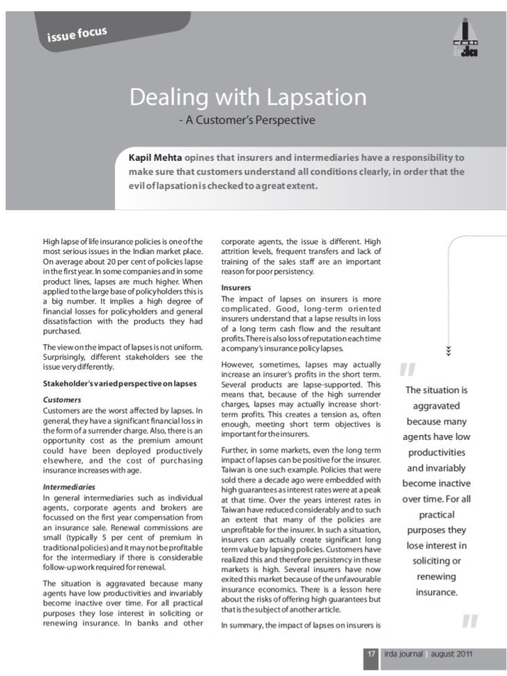 Dealing with Lapsation - A Customer's Perspective