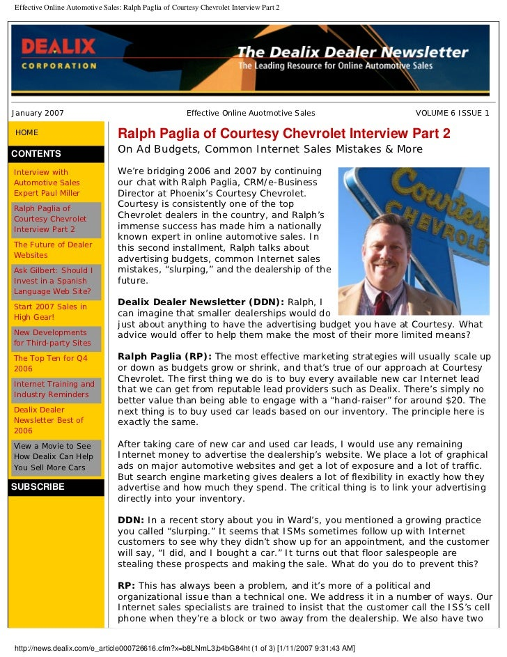 Effective Online Automotive Sales: Ralph Paglia of Courtesy Chevrolet Interview Part 2     January 2007                   ...