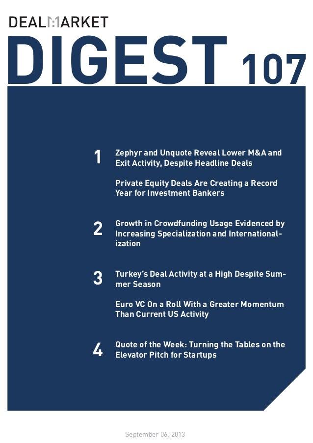 DealMarket DIGEST Issue 107 // 06 September 2013