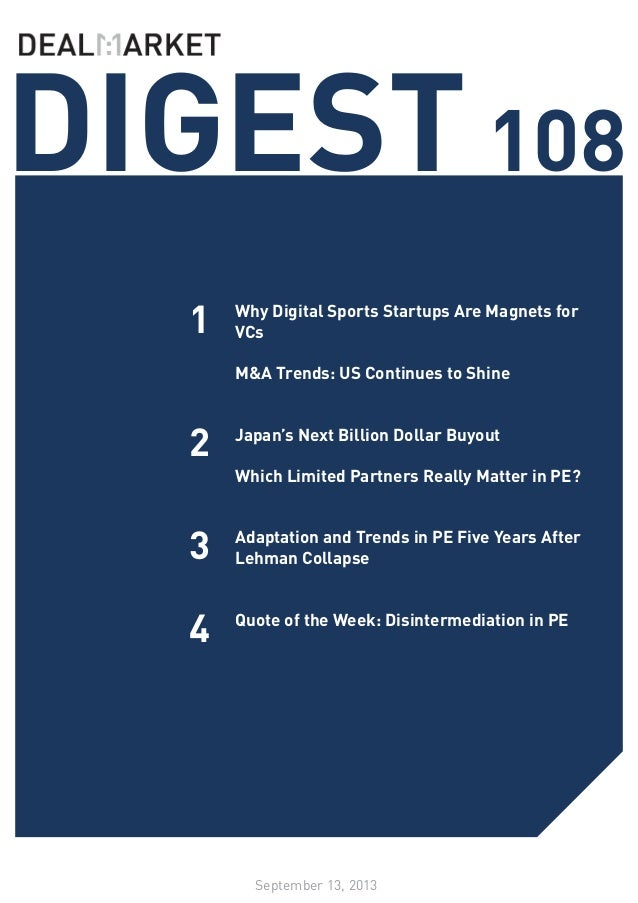 DealMarket Digest - Issue108 - 13 Sept 2013