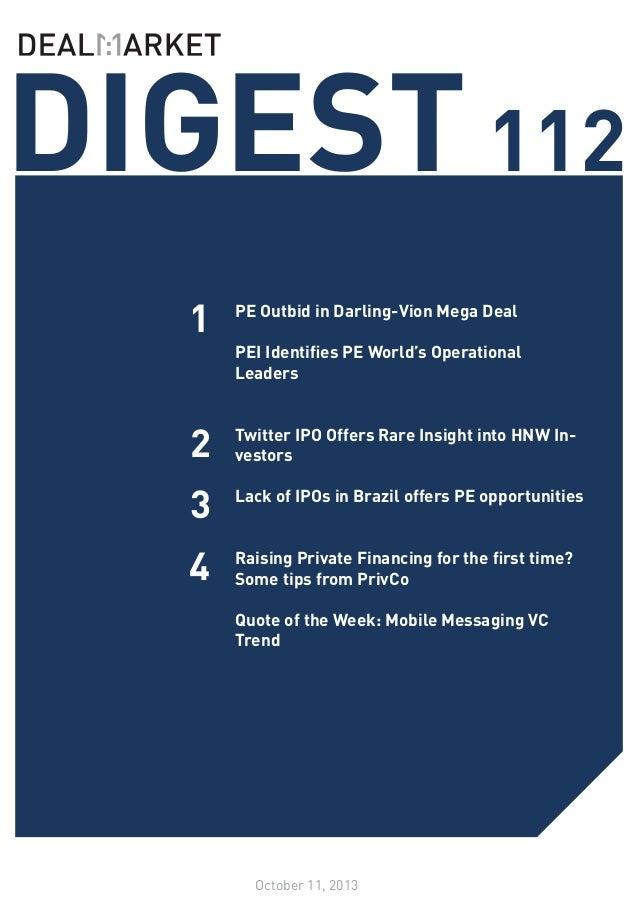 DealMarket DIGEST Issue 112 // 11 October 2013