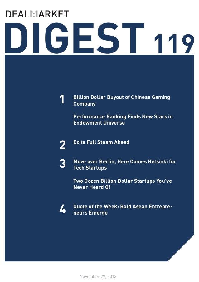 DealMarket Digest Issue119 - 29th November 2013