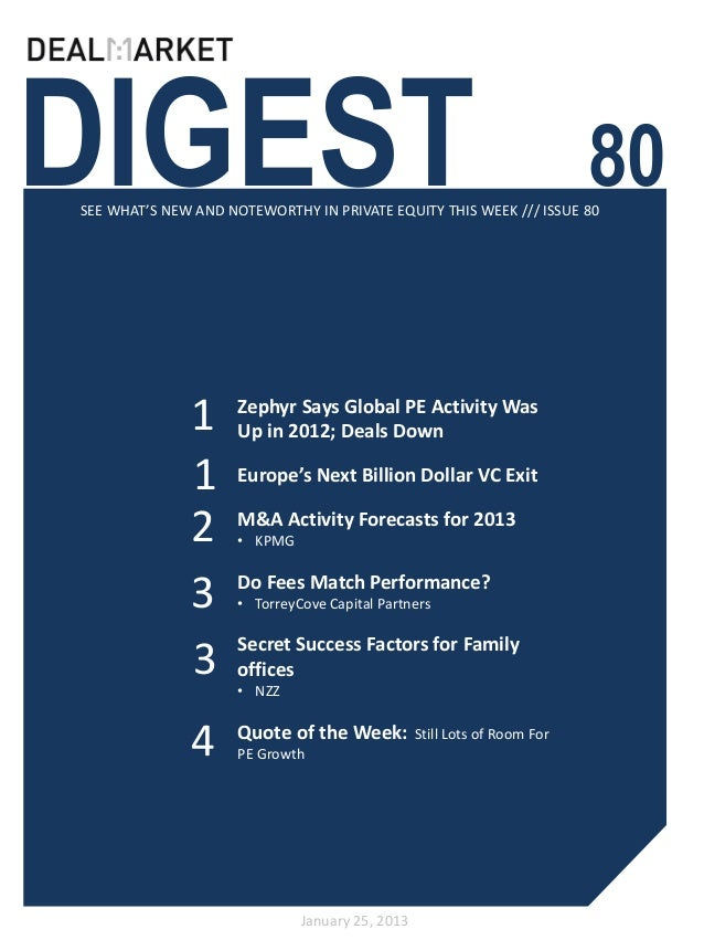 DealMarket Digest Issue80 - 25th January 2013