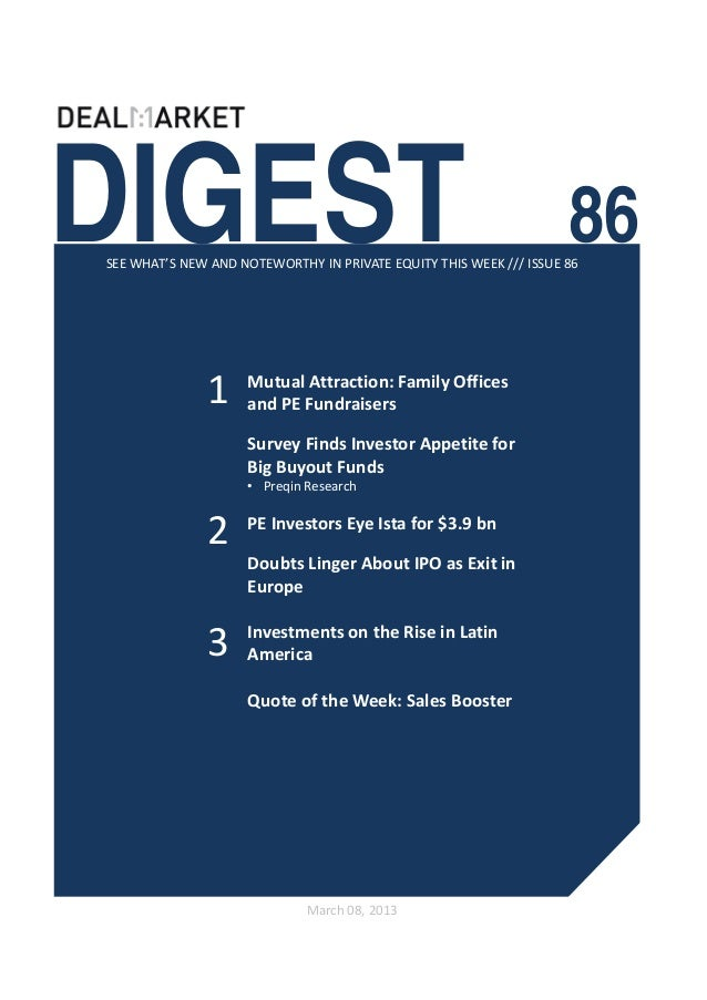 DealMarket Digest Issue86 - 8th March 2013