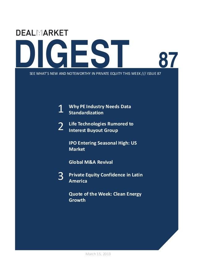 DealMarket Digest Issue 87 - 15th March 2013