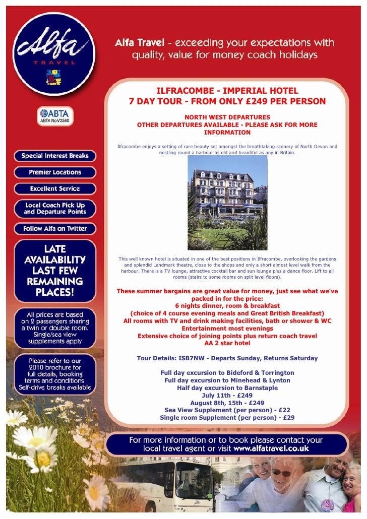 ILFRACOMBE - IMPERIAL HOTEL      7 DAY TOUR - FROM ONLY £249 PER PERSON                     NORTH WEST DEPARTURES         ...