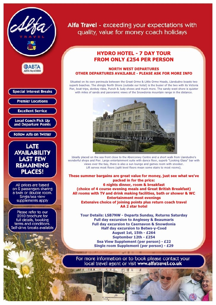 HYDRO HOTEL - 7 DAY TOUR                     FROM ONLY £254 PER PERSON                    NORTH WEST DEPARTURES      OTHER...