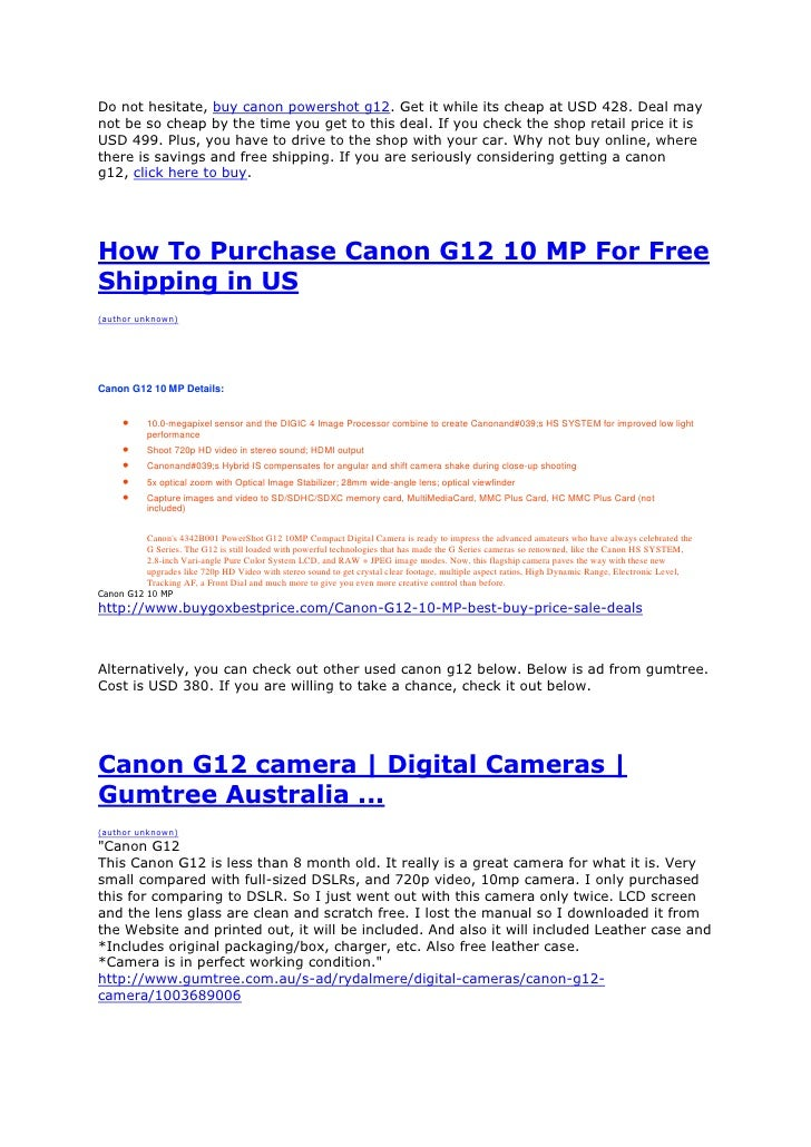 Deals and prices   buy canon powershot g12 now