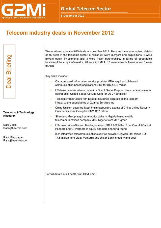 Telecom industry deals in November 2012