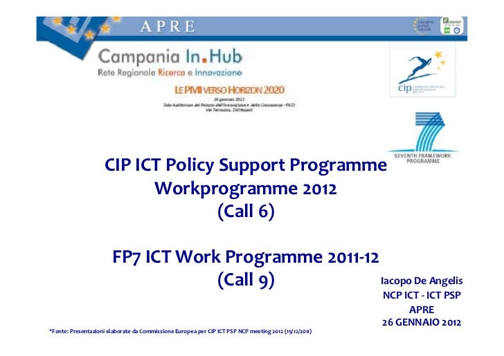 CIP ICT Policy Support Programme                           Workprogramme 2012                                    (Call 6) ...
