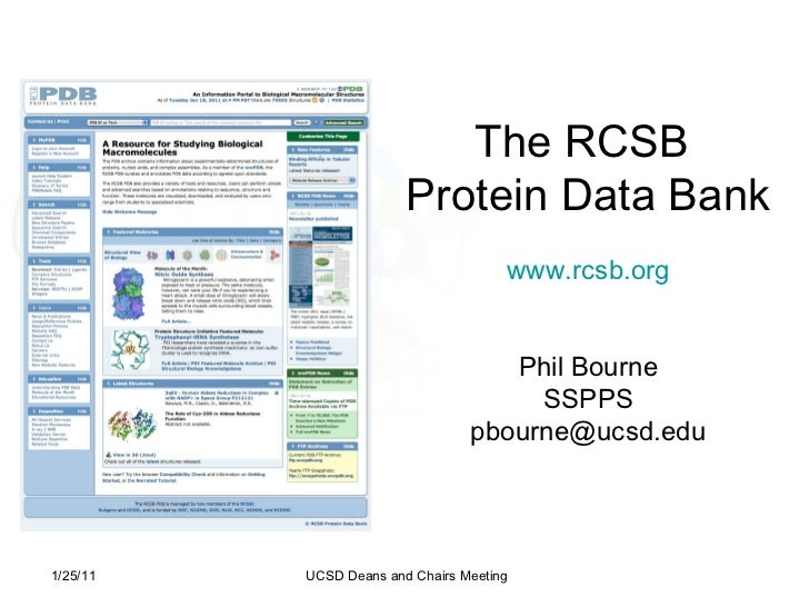 The RCSB  Protein Data Bank www.rcsb.org Phil Bourne SSPPS [email_address] 1/25/11 UCSD Deans and Chairs Meeting